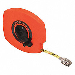 Measuring Tape, Hi-Vis Orange, 50Ft, Closed