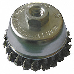 Cup Brush, 6 In D, Steel, 0.0140 Wire