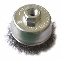 Cup Brush, 3 In D, Steel, 0.0140 Wire