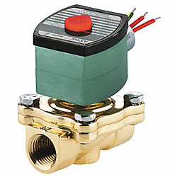 Solenoid Valve, Normally Open, 2 In, Brass