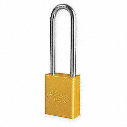 Lockout Padlock, KD, Yellow, 1/4 In. Dia.