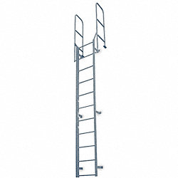 Fixed Ladder, WlkThru, 21 ft. 8 In H, Steel