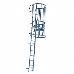 Fixed Ladder, WlkThru, 28 ft. 8 In H, Steel