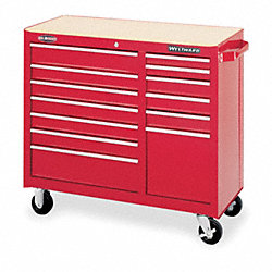 Rolling Cabinet, 41 W, 13 Drawer, Red