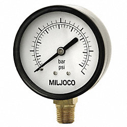 Pressure Gauge, 2 1/2 In, 100 Psi