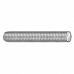 Threaded Rod, Steel, 1/4-20, 1 Ft L