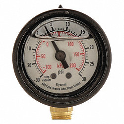 Pressure Gauge, Filled, 2 1/2 In, 30 Psi