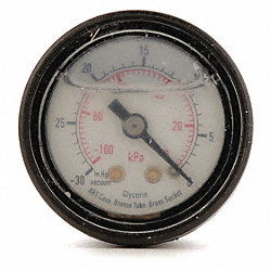 Pressure Gauge, Filled, 1 1/2 In, 100 Psi