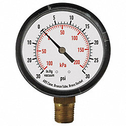 Pressure Gauge, 2 1/2 In, 60 Psi, Lower