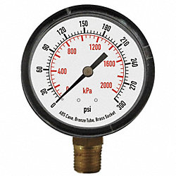 Pressure Gauge, 2 In, 300 Psi, Lower