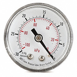Pressure Gauge, 1 1/2 In, 60 Psi, Back