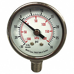 Compound Gauge, 2 In, 30 Psi, SS, Lower