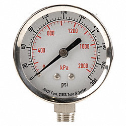 Pressure Gauge, 3 1/2 In, 300 Psi, SS, Lower