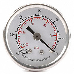 Pressure Gauge, 2 1/2 In, 100 Psi, SS, Back