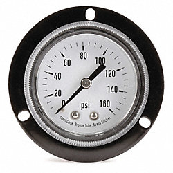 Panel Gauge, Front Flange, 2 In, 160 Psi