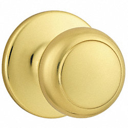 Knob Lockset, Bright Brass, Passage