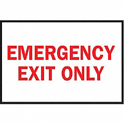 Exit Sign, 10 x 14In, R/WHT, EMER Exit Only