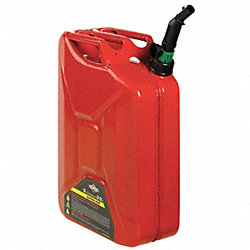 Spill Proof Gas Can, 5 Gal., Red, Steel