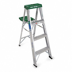 Stepladder, Aluminum, 4 ft. H, 225 lb. Cap.