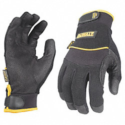 Mechanics Gloves, L, Black, Leather, PR