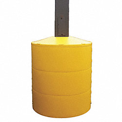 Pole Cover, 3 Ring, 6In Square, Yellow