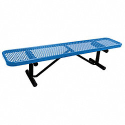 Bench, Expanded Metal, Blue, Length 72 In
