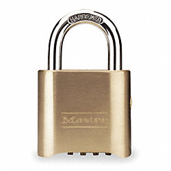 Combination Padlock, 4 Dial, Brass, 2 In