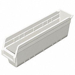 Shelf Bin, W 4 1/8, H 6, D 17 7/8, White