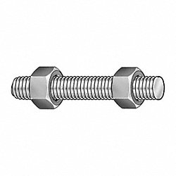 Threaded Stud, B7, 5/8-11 x 4-1/4 In, PK 50