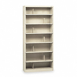 Bookcase, Steel, 7 Shelves, Putty
