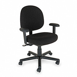 Chair, Desk, Black Fabric, Adjustable Arms