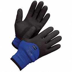 Coated Gloves, L, Black/Blue, PR