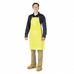 Bib Apron, Yellow, 36 In. L, PK 24