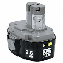 Battery Pack, 18V, NiMH, 2.6A/hr.