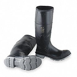 Knee Boots, Men, 8, Steel Toe, Blk/Gry, 1PR