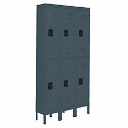 Assembled Locker, 2 Tier, W36, D18, H78, Gray