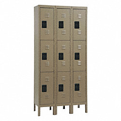 Assembled Locker, 3 Tier, W36, D18, H78, Tan