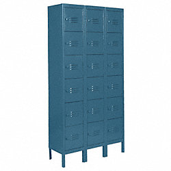 Assembled Locker, 6 Tier, W36, D18, H78, Blue