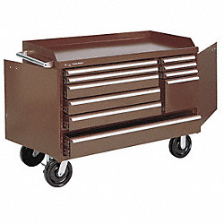 Rolling Cabinet, 48 W, 10 Drawer, Brown