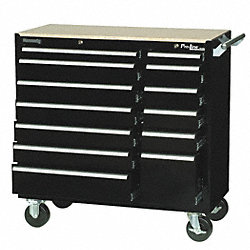 Rolling Cabinet, 39 3/8 W, 13 Drawer, Black