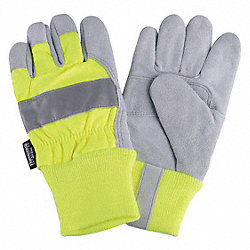 Leather Palm Gloves, Hi-Vis Lime, XL, PR