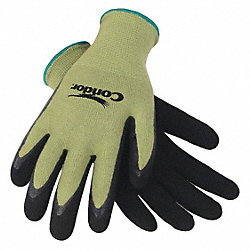 Coated Gloves, XL, Black/Green, PR