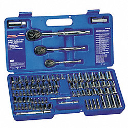 Socket Set, 1/4, 3/8, 1/2 Dr, 89 Pc