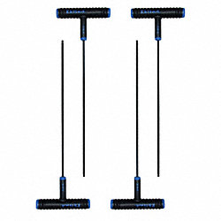 Ball End Hex Key, T, 3mm, 9 in. L, PK4