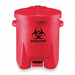 Biohazard Step On Waste Container, 6 gal.