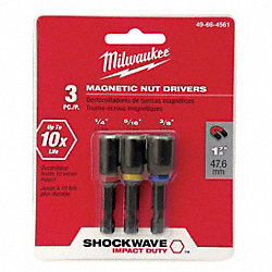 Mag Nut Driver Set, 1/4, 5/16, 3/8 In, 3 Pc