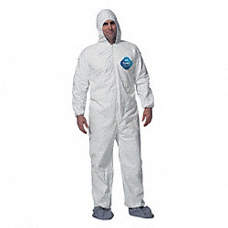 Hooded Tyvek(R), White, Boots, L, PK 6