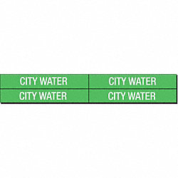 Pipe Marker, City Water, Gn, 3/4 to2-3/8 In