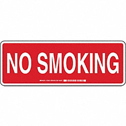 No Smoking Sign, 5 x 14In, WHT/R, ENG, Text