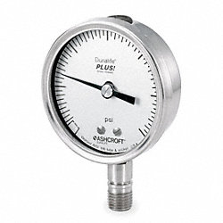 Pressure Gauge, 2 1/2 In, 0 to 160 Psi